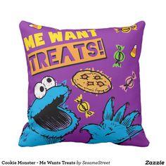 Cookie Monster - Me Wants Treats. Regalos, Gifts. Decoración para el hogar. Home decoration. #cojín #pillow