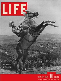 """Roy Rogers on Trigger,""""The Worlds Smartest Horse"""".Roy Rogers Tried Him Out of 100 Horses brought in For Roy to Pick a Movie Horse From, it was 1934 & Trigger was a Stallion that was off a Farm Co-Owned by Bing Crosby. He was Only the 3rd Horse Roy Tried, & When Roy Got Off Trigger, He Said """"The Horse Could Turn on a Dime & Give You 9 Cents Change""""..So Roy Chose the Big Golden Palomino, Who Starred in Every Movie with Him til his Death, One Day Shy of 31 yrs Old.No Other Trigger ='d the…"""
