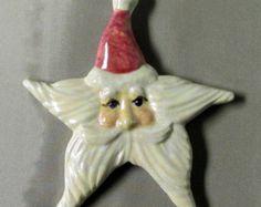 Ceramic Santa Star Christmas Ornament by GrapeVineCeramicsGft