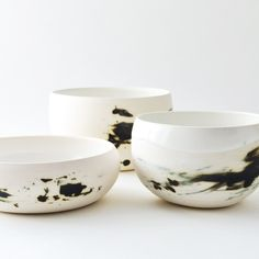 "3 porcelain bowls. large 5"" x 3.5"", medium 4"" x 3"", shallow bowl 5.5"" x 2"". MADE TO ORDER - please allow 2 weeks..."