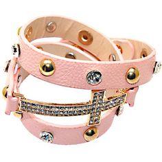 Розовый цвет завернутый шипованных кожаные браслеты, шипованных кристалл и заклепки браслеты, розовый р. leather кросс шарм браслеты.