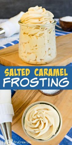 Salted Caramel Frosting - this easy homemade buttercream frosting has the best sweet and salty flavor. Make this easy recipe to frost cupcakes, cookies, or cakes. #saltedcaramel #frosting #buttercream #caramel #sweetandsalty #recipe