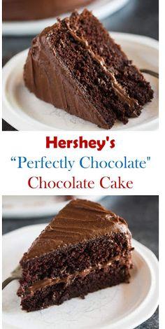 """Here's The Best Chocolate Cake Recipe: Hershey's """"perfectly chocolate"""" Chocolate Cake. Its delicious cake. Hershey Cake, Hershey Chocolate Cakes, Perfect Chocolate Cake, Chocolate Chocolate, Chocolate Recipes, One Layer Chocolate Cake Recipe, Magic Cake Recipes, Easy Cake Recipes, Dessert Recipes"""