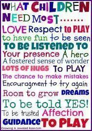 Wat kinderen en grote mensen ;) nodig hebben.