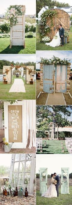 chic rustic wedding decoration ideas with old doors & 35 Rustic Old Door Wedding Decor Ideas for Outdoor Country Weddings ...