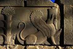 A relief sculpture of a sphinx on a balustrade of the Tripylon (Triple Gate), also known as the Central Palace or Council Hall in Persepolis Ancient Aliens, Ancient Egypt, Ancient History, Ancient Greek, Art History, Persian Architecture, Ancient Architecture, Gothic Architecture, Ancient Mesopotamia