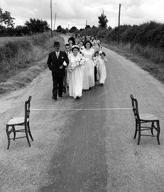 Robert Doisneau // Weddings -   Le ruban de la mariée, Saint Sauvant 1951