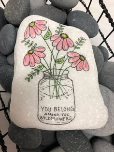 Flowers served with some positivity! Pebble Painting, Pebble Art, Stone Painting, Stone Crafts, Rock Crafts, Pierre Decorative, Decorative Rocks, Caillou Roche, Scripture Painting