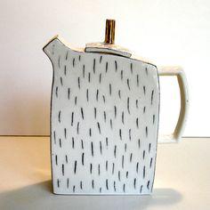handbuilt porcelain teapot with underglaze by gonetopottexas, $80.00