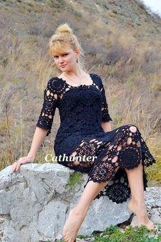 crochelinhasagulhas: Vestido preto em crochê