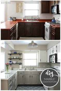 Budget Kitchen Makeover - DIY Faux Marble Countertops.  Painted with the 'White Diamond' Giani Countertop Paint Kit-- creates the look of natural stone for under $100!