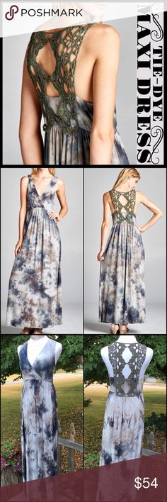 Tie-Dye Maxi Dress Beautiful maxi dress in a lovely tie-dye pattern with rich hues of olive, gray, and navy. Added are the perfect finishing touches- a flattering cross-neckline and very high quality crocheted racer-back in olive. Dress perfection! Boutique Dresses