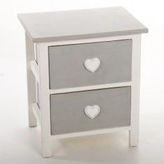 photo meuble de chevet - table de nuit coeurs - 2 tiroirs