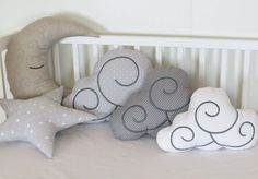 Kids Pillow Set (5) - Nursery Decor - Kid Pillows -Light grey and white polka dot - gray and cappuccino.  This adorable cloud makes the perfect