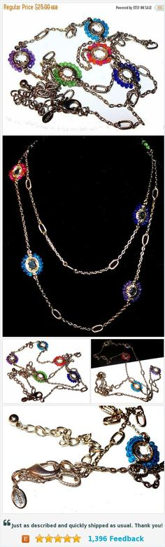 """Chico's Jeweled Necklace Rainbow Color Beads Gold Chain Boho Long 40"""" Vintage https://www.etsy.com/BrightgemsTreasures/listing/531306300/chicos-jeweled-necklace-rainbow-color?ref=shop_home_active_17"""