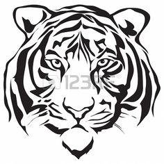 Conception Tiger head silhouette Banque d'images - 16040467