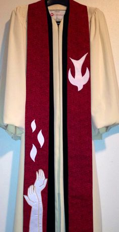 Pentecost stole https://www.etsy.com/listing/181059404/clergy-stole-red-pentecost-clergy-stole
