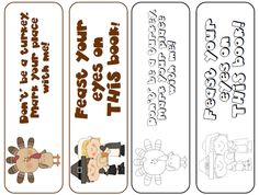 4 FREE Thanksgiving bookmarks on TpT...2 in color and 2 in black and white