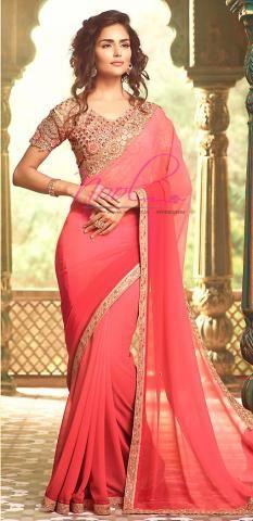 Bollywood Plain Saree Peach Georgette Designer Blouse BZ4993D76413