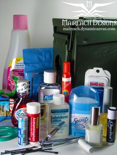 Wedding emergency kit. A must have at a wedding! Perfect for the Maid of Honor. Also makes a great Bridal Shower gift.