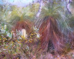 Australian Artist Hal Barton s oil titled Coastal Banksias & grass trees Beach Scene Painting, Outdoor Paint, Painting Still Life, Beach Scenes, Australian Artists, Summer Colors, Grass, Coastal, Oil