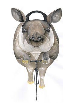 Poster / Tapir / Art Print : Animal on Bike Cycling Art, To My Daughter, How To Draw Hands, Animal Illustrations, Art Prints, Trekking, Drawings, Artwork, Berlin