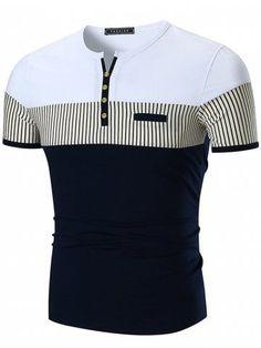 Stripe Panel Notch Neck Button Embellished T-shirt #MensT-shirts