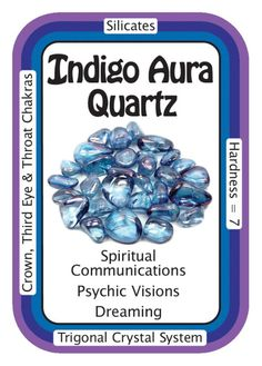 "Crystal Card of the Day: Indigo Aura Quartz, ""I am connected to a higher power in the Universe."" Indigo Aura (Tanzan Aura) is created when Clear Quartz crystals are super-heated in a vacuum and. Crystals Minerals, Rocks And Minerals, Crystals And Gemstones, Stones And Crystals, Gem Stones, Crystal Healing Stones, Clear Quartz Crystal, Healing Rocks, Crystal Magic"