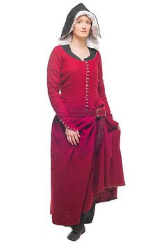Red wool kirtle, hood and linen shift