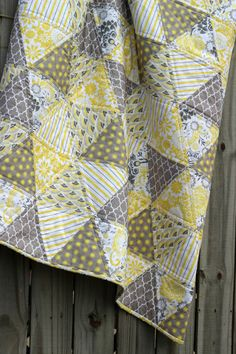 Triangle Quilt Modern Baby Girl Quilt Riley by CottonLaneQuilts #rileyblakedesigns #eveningblooms #carinagardner