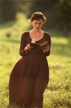 """Reading, Keira Knightley as Elizabeth Bennet from Pride & Prejudice Mr. Darcy: """"…Could you expect me to rejoice in the inferiority of your circumstances?"""" Elizabeth Bennet: """"And those are the. Keira Knightley, Keira Christina Knightley, Elizabeth Bennett, Elizabeth Swann, Pride And Prejudice 2005, Pride And Prejudice Elizabeth, Mr Darcy, Woman Reading, Good Movies"""
