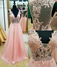 Modest Prom Dresses, Pink Prom Dresses, Long Prom Dresses, V-neck Prom Dresses, Beautiful Prom Dresses Prom Dresses 2019 V Neck Prom Dresses, Pink Prom Dresses, Tulle Prom Dress, Prom Party Dresses, Occasion Dresses, Lace Dress, Dress Long, Dress Formal, Formal Prom