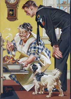 Illustration Sailor Home and Home Cooked Meal