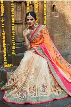Orange Net Wedding Saree