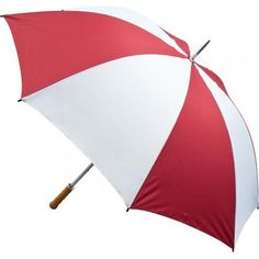 Quantum Golf Umbrella - Burgundy and White...  30inch golf umbrella with steel frame and fibreglass ribs. Wood effected handle. Soft feel polypongee canopy. Maximum print area: 250mm x 150mm