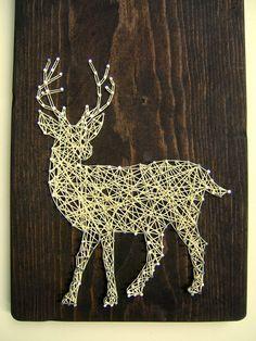 Cola blanca silueta del ciervo cadena moderno arte por NineRed