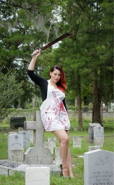 Dexter inspired bloody zombie housewife apron by HauteMessThreads, $45.00