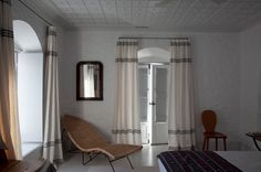 Bedroom in a house in Greece designed by Milinaric, Henry and Zervudachi