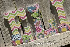 Custom Nursery Wooden Letters Baby Girl by WanderlustbyAlissa, $16.00