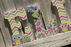 Custom Nursery Wooden Letters, Baby Girl Nursery - Dena Happi Tree Theme (Owls, Birds) Custom Letters, 9 Inch Size on Etsy, $16.93 CAD