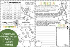 A fun St.Patrick's Day activity for kids! Language, math, reading and writing in one FREE download! This freebie has your students find adjectives, make new words, count coins, focus on adjectives, and write about Saint Patrick's Day. You can use this with your 2nd, 3rd, or 4th grade classroom and homeschool students. Get your freebie now!