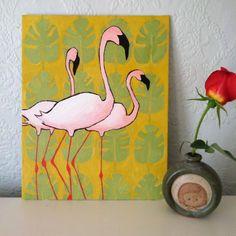 Dit origineel olieverfschilderij is op een 8 x 10 doek paneel. De aangepaste grootte maakt het gemakkelijk en goedkoop naar frame!  Het schilderij heeft Flamingos tegen de achtergrond van een patroon.  Ik ben aangetrokken tot patroon en lijn en genieten van het verkennen van het in mijn werk.