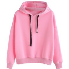SheIn(sheinside) Pink Hooded Sweatshirt With Drawstring In Black ($19) ❤ liked on Polyvore featuring tops, hoodies, jackets, shirts, sweaters, pink, pullover hoodie, shirt hoodies, long sleeve hoodie and pink long sleeve shirt