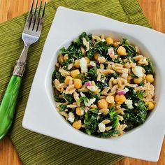 Recipe for Whole Wheat Orzo Salad with Kale, Chickpeas, Lemon, and Feta from Kalyn's Kitchen