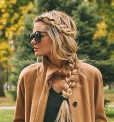 Warkocz wokół głowy - długie włosy