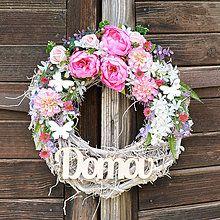Veniec s ružovými tulipánmi / Hydrangea - SAShE.sk - Handmade Dekorácie Diy And Crafts, Floral Wreath, Leto, Wreaths, Garlands, Decoration, Home Decor, Decor, Floral Crown