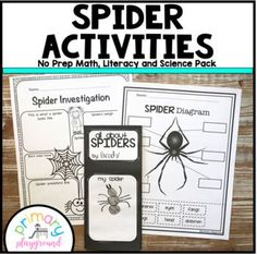 Spider Activities No Prep Math, Literacy and Science - In this spider pack you'll find 66 pages of no prep sheets. Get this unit as part of my No Prep Math, Literacy, and Science Packet Bundle