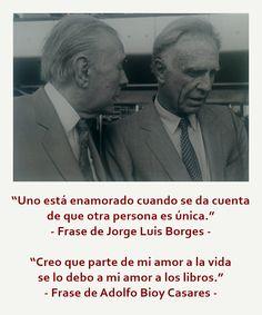 """""""Uno está enamorado cuando se da cuenta de que otra persona es única.""""  - Frase de Jorge Luis Borges -     """"Creo que parte de mi amor a la vida se lo debo a mi amor a los libros.""""  - Frase de Adolfo Bioy Casares -"""