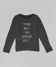 Black 'Leadership Skills' Pullover Sweater//