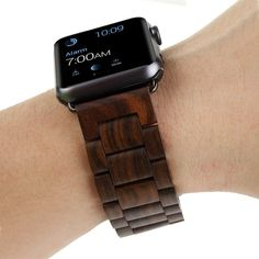 Dorara Apple Watch Bracelet Classic Wristband Wood Strap Apple Watch Band Ebony Wooden Material Classic Wristband for Apple Watch Series 1 Series 2 and Sport Edition * For more information, visit image link. (This is an affiliate link) Apple Watch Nike, Apple Watch Bands 42mm, Apple Watch Bracelets, Apple Watch Accessories, Thing 1, Wood Bracelet, Apple Watch Series 2, Watches For Men